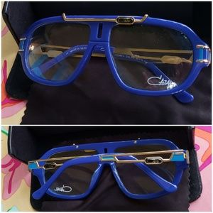 Cazal blue frame clear lens glasses